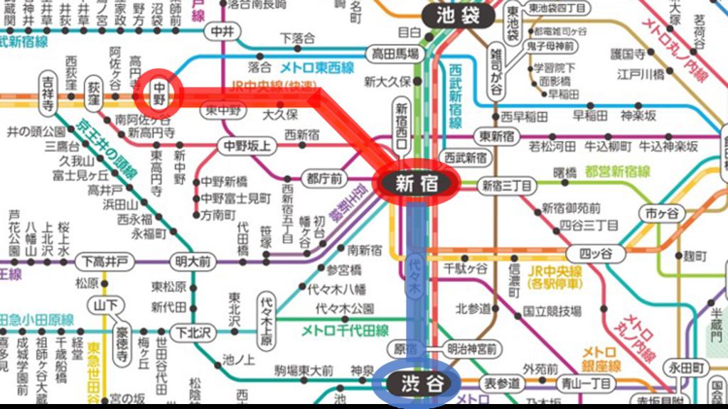 中野から渋谷